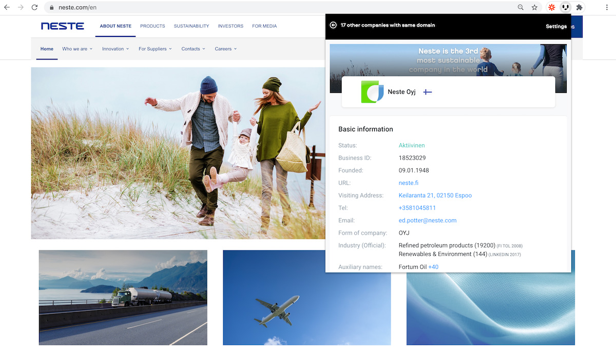 Vainu Company View for Chrome and CRM Mass Export: Give productivity a boost