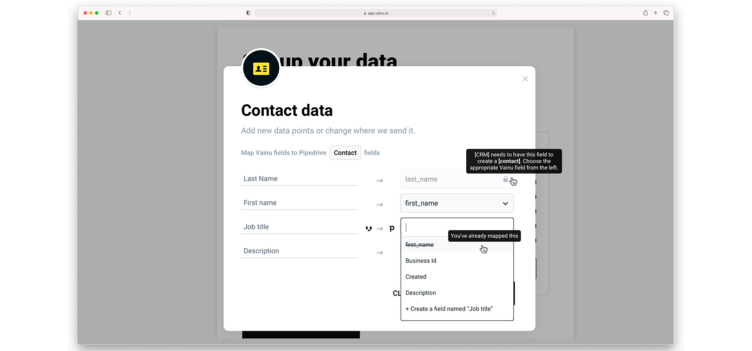 Update contact data with Vainu